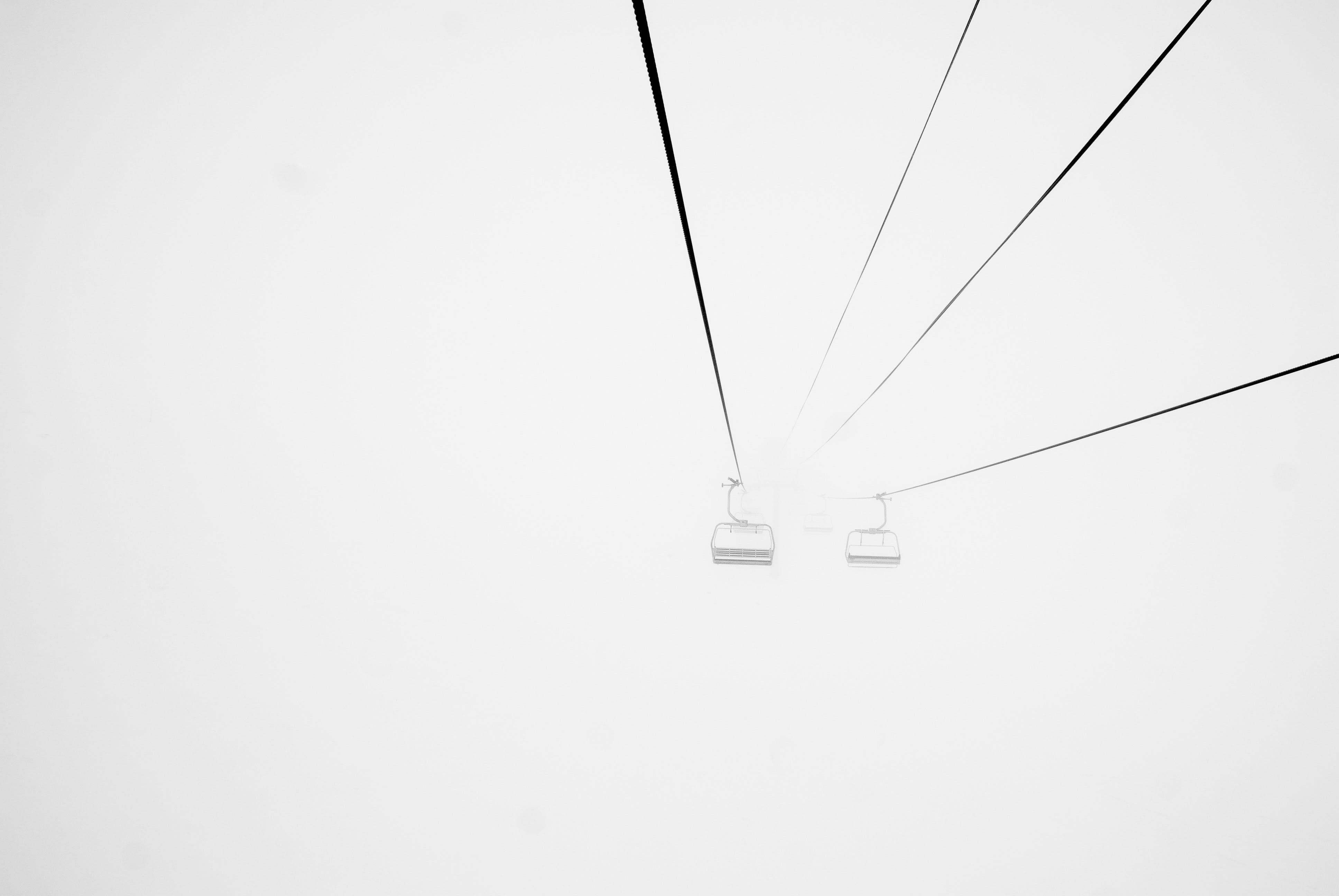 cable car, cable railway, fog