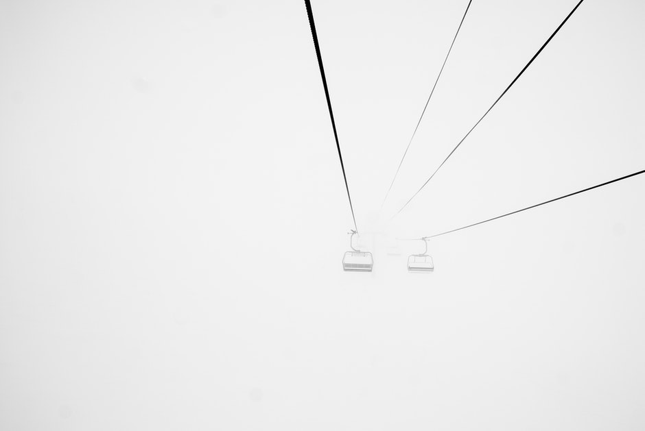 cable car, cable railway, fog