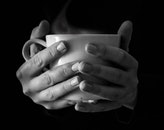 black-and-white, hands, coffee
