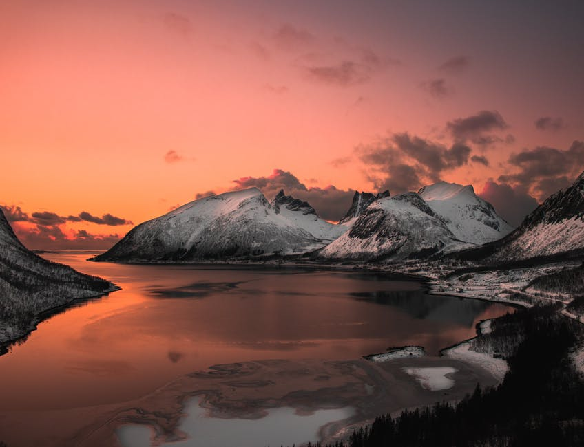 Scenic photo of lake near mountains
