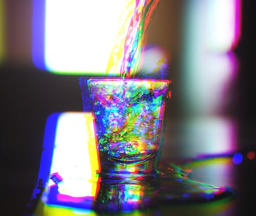 Free stock photo of drug, rainbow, shot glass, trippy