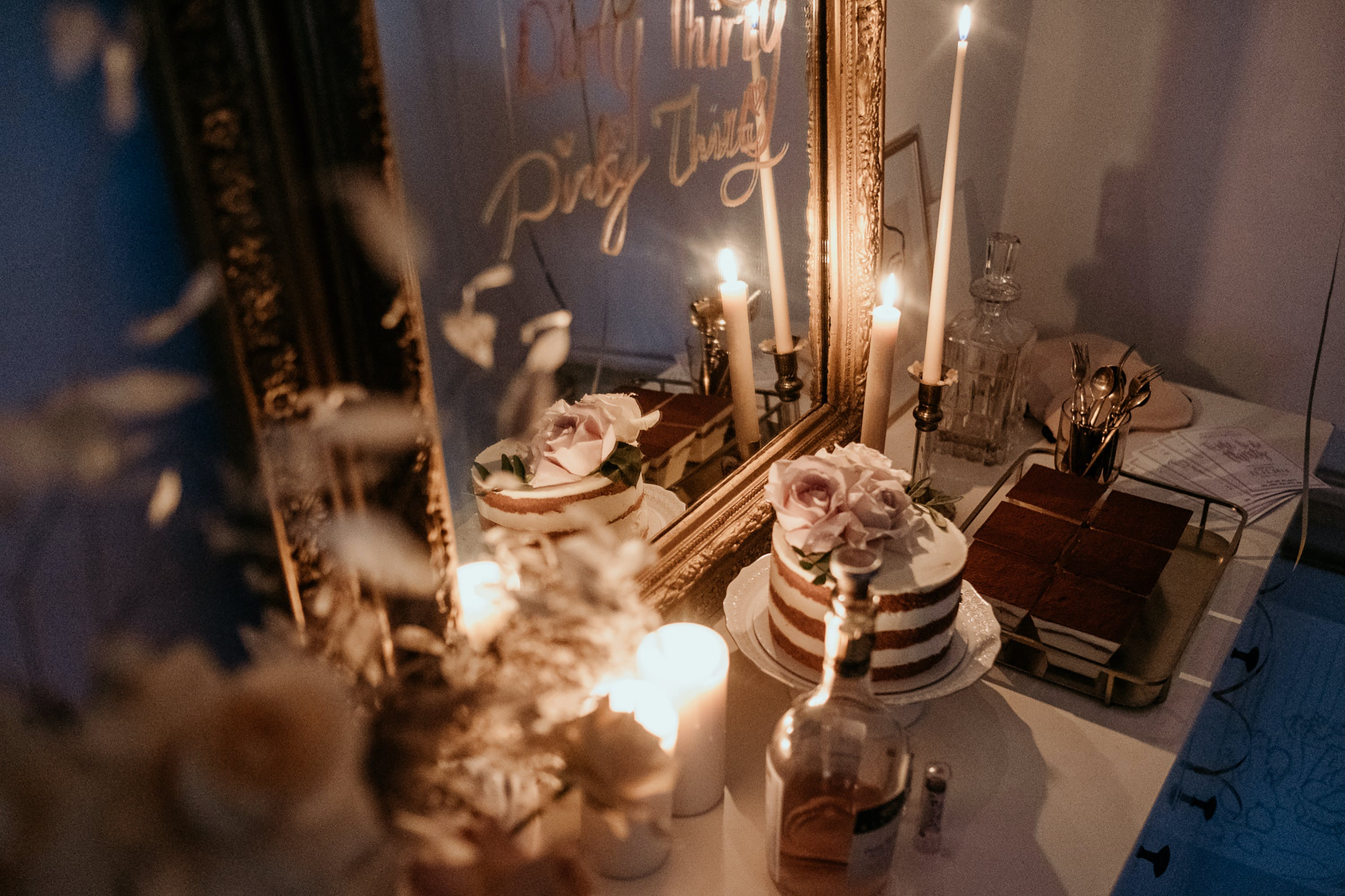 Cake and Candle on Table