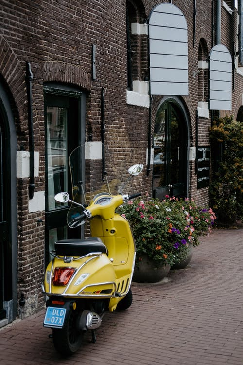 carrer, ciclomotor, edifici