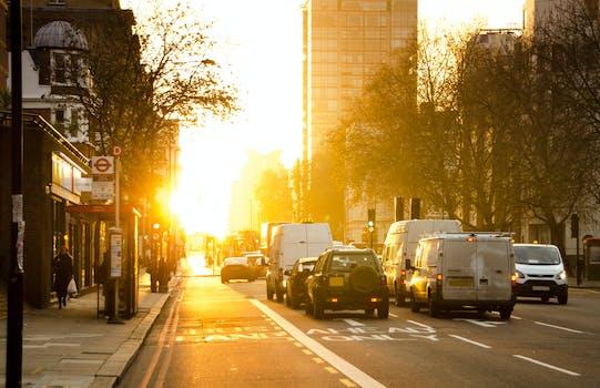 Black And White Vehicles Traveling On Gray Asphalt Road During Sunset