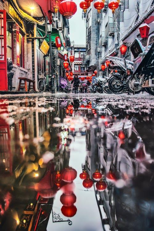 Ingyenes stockfotó alacsony szögű felvétel, árvíz, belváros, eső után témában