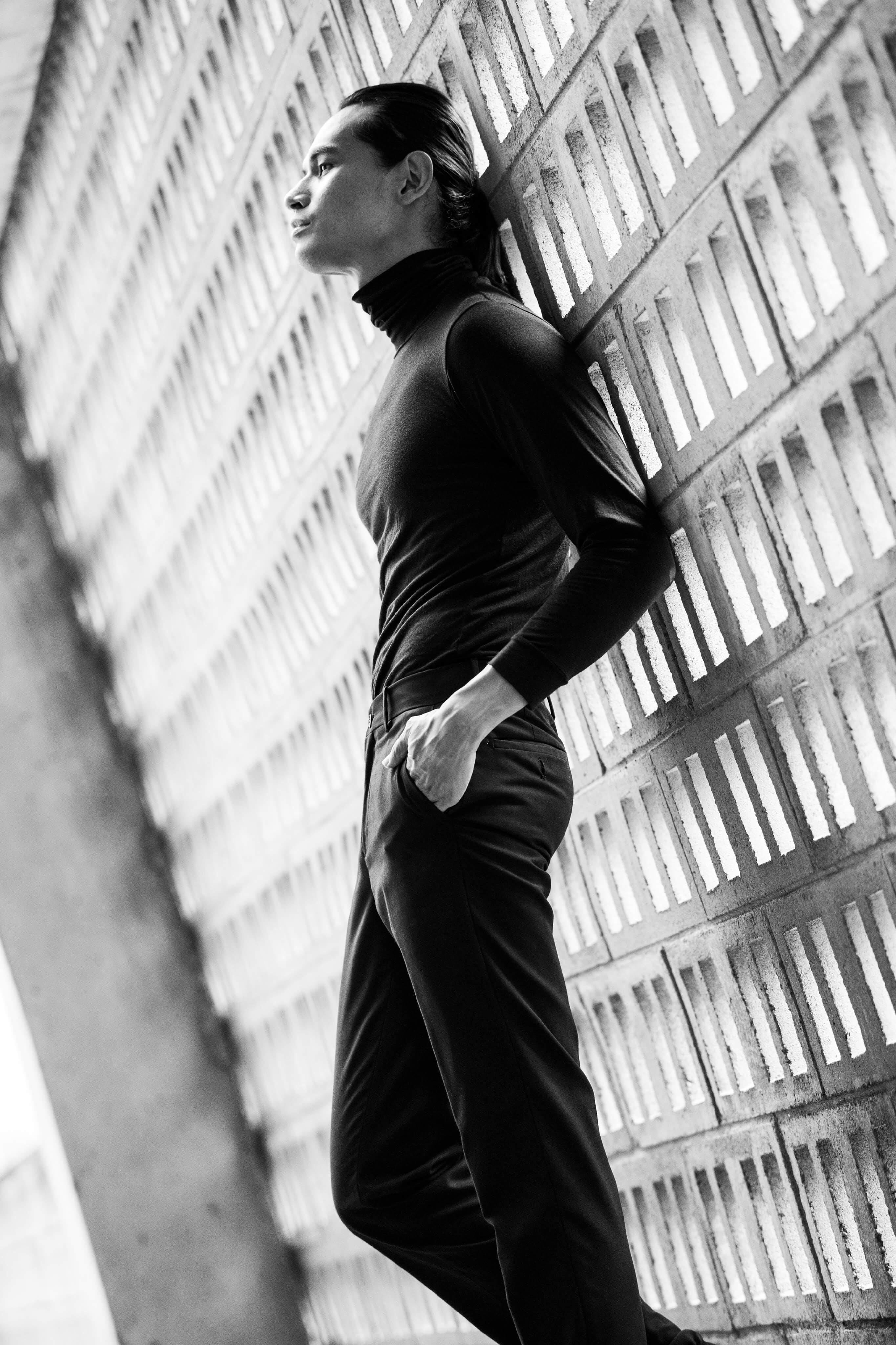 Monochrome Photo of Man Wearing Black Long Sleeves