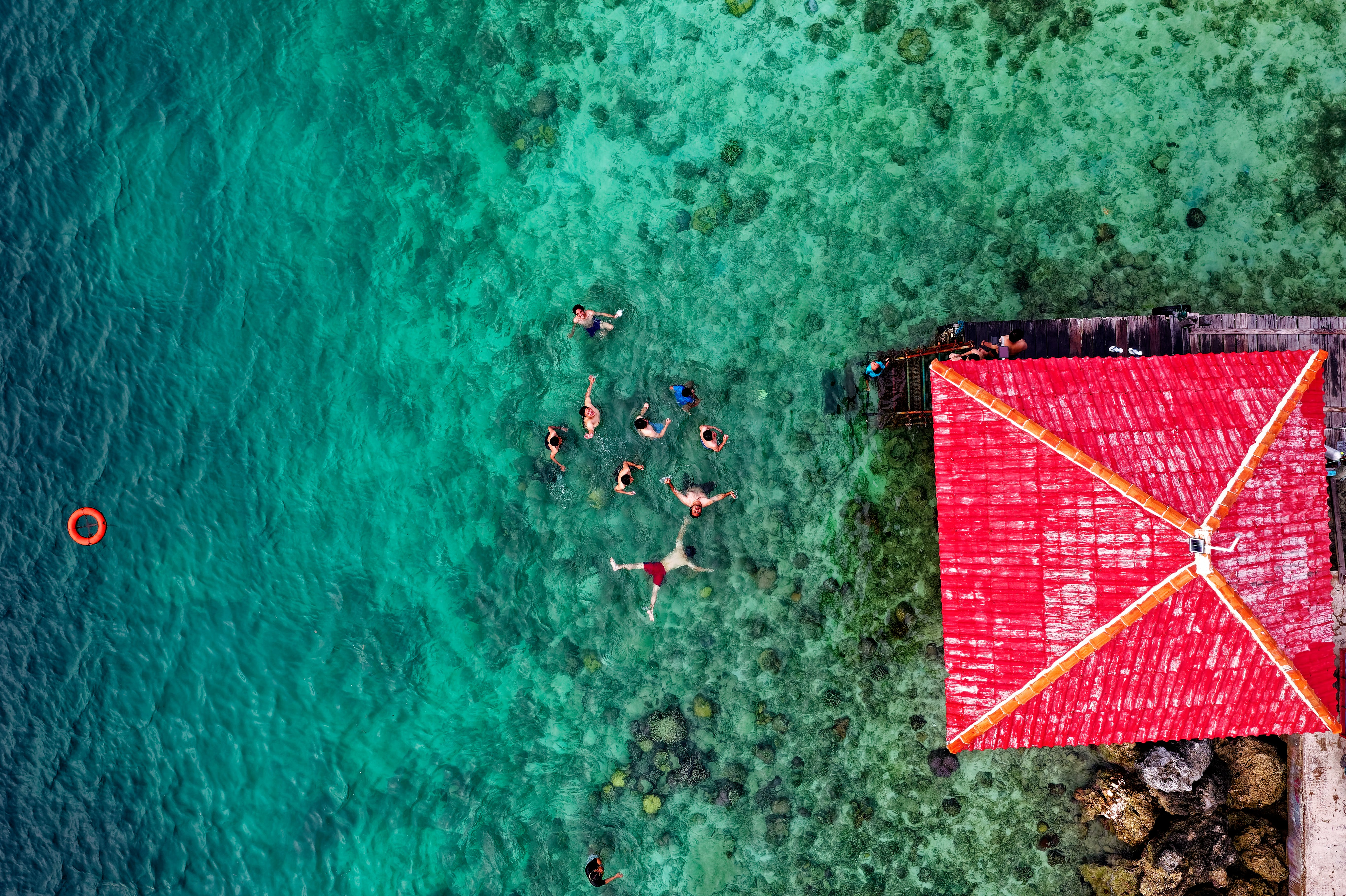 Aerial Photo of People on Body of Water