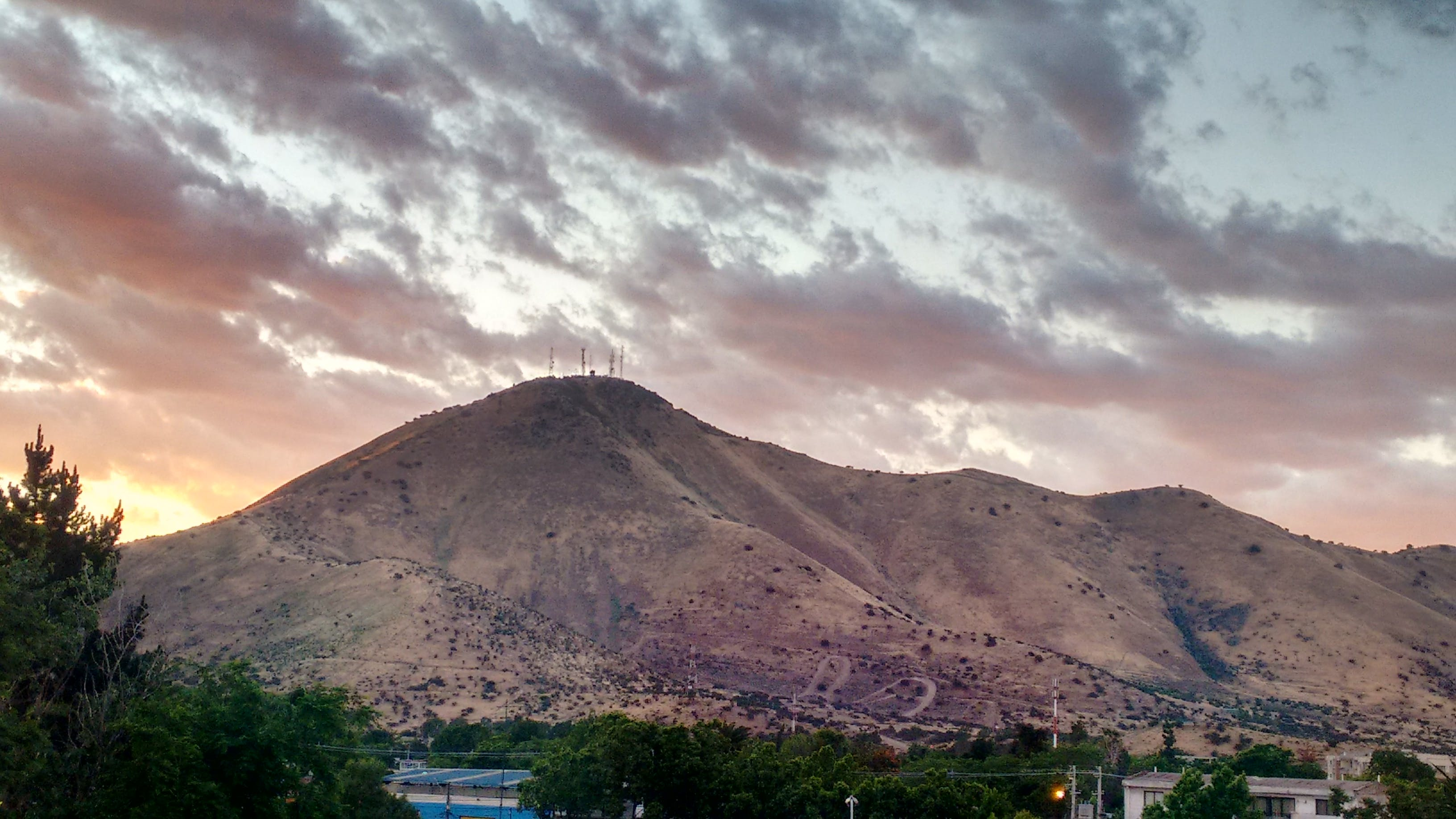 Free stock photo of chile, clouds, hill, sunset