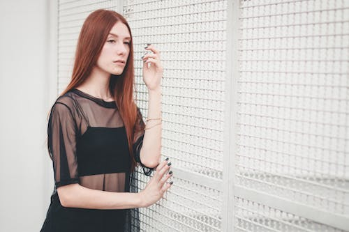 Free stock photo of grid, red hair, white