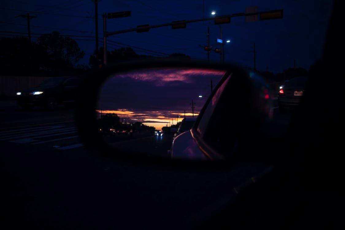 bil, nattfotografi, refleksjon