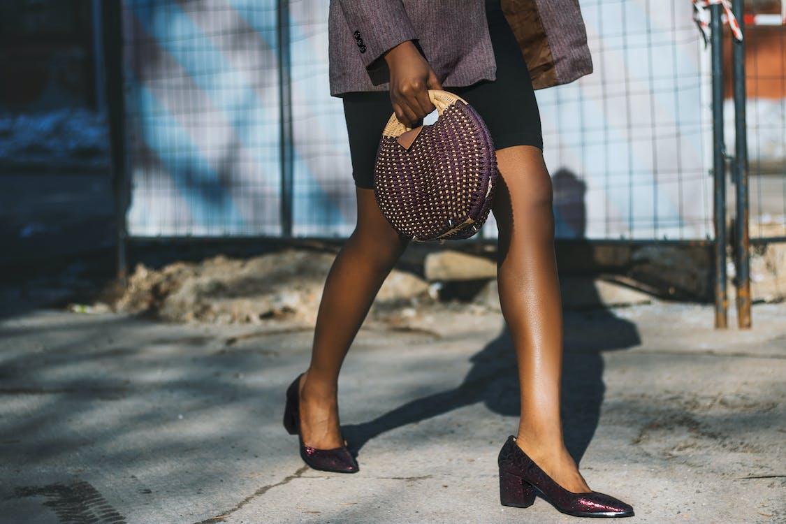 divat, gyalogló, láb
