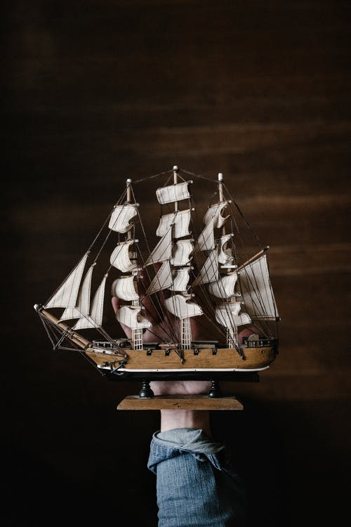 Brown Sailing Ship Miniature