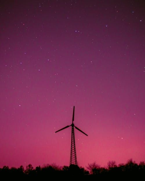 Windmill Under Starry Sky