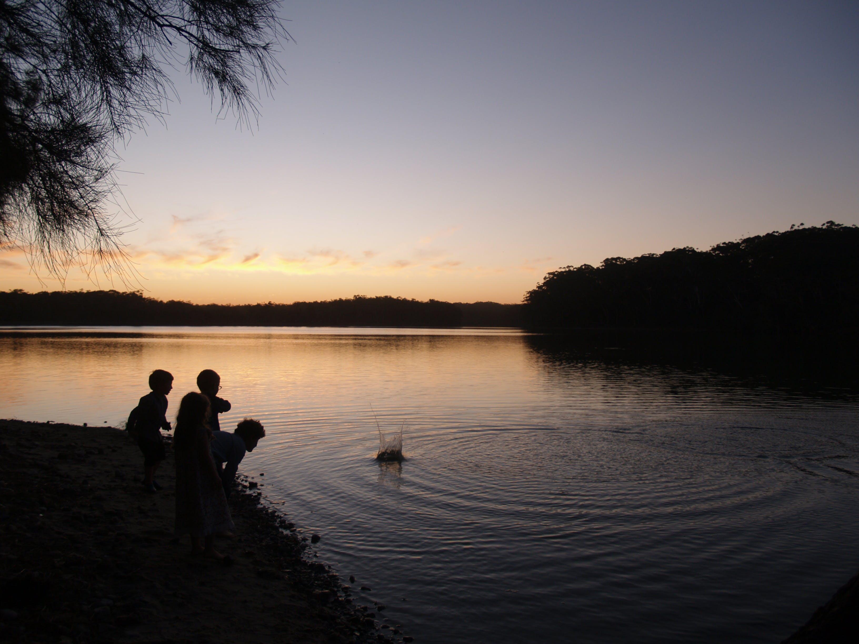 Free stock photo of sunset, lake, child, memories