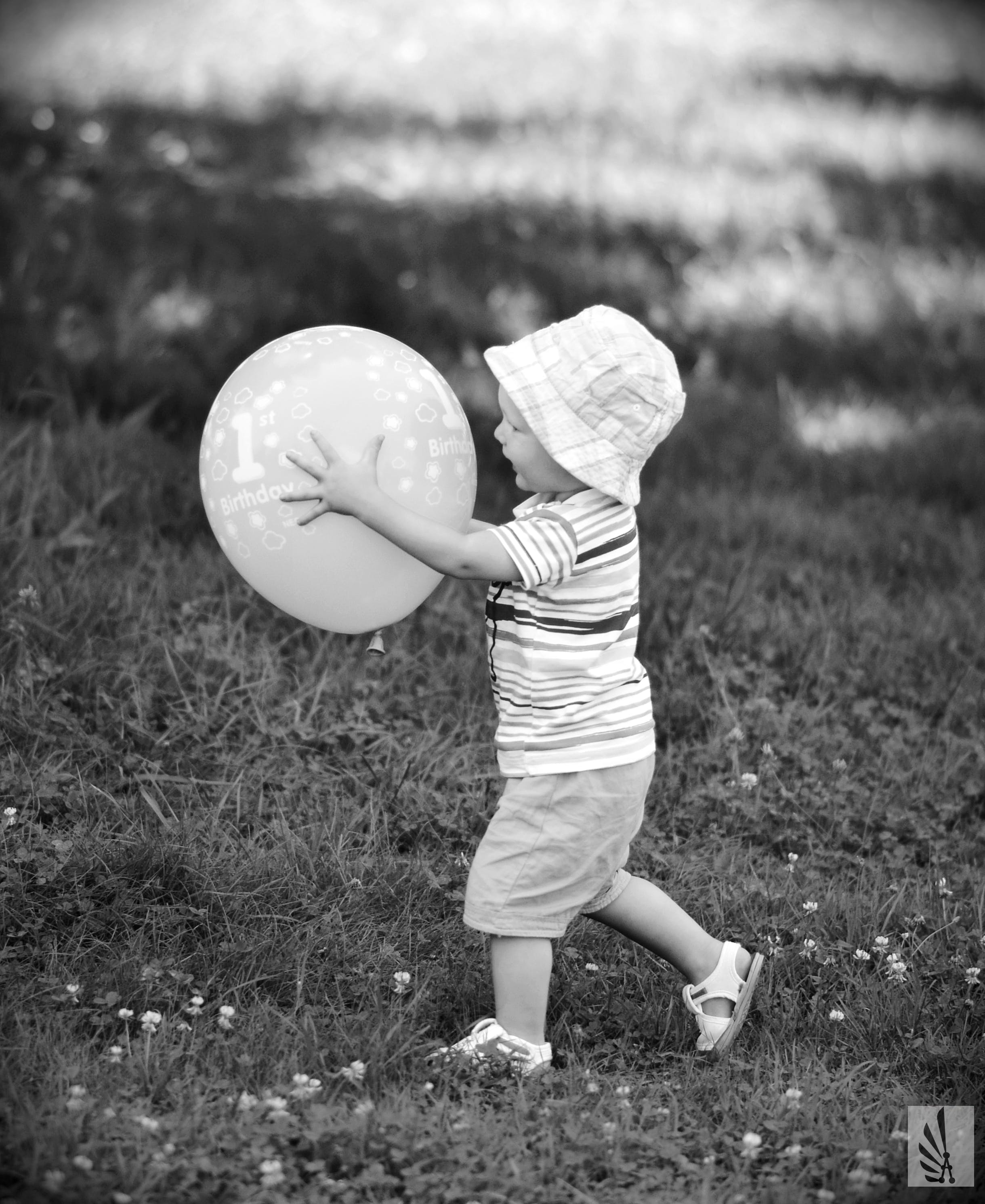 Free stock photo of baby, balloon, black and white, hat