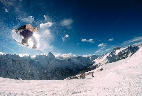 aşırı, dağ, ekstrem spor, kar içeren Ücretsiz stok fotoğraf