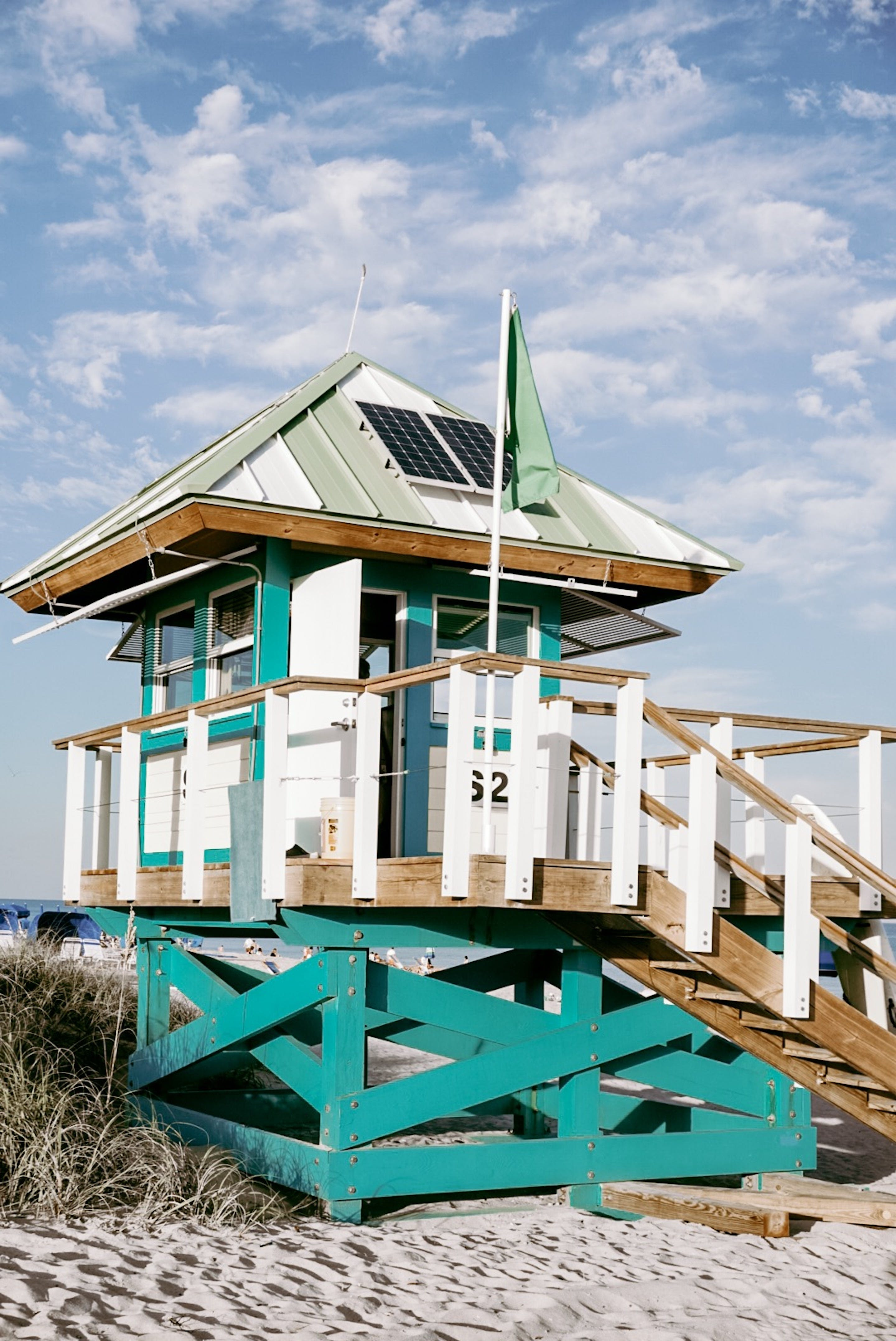 White And Green Lifeguard Tower