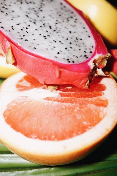 Sliced Dragon Fruit And Grapefruit