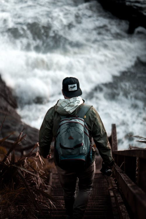 Free stock photo of backpack, man, moody, nature