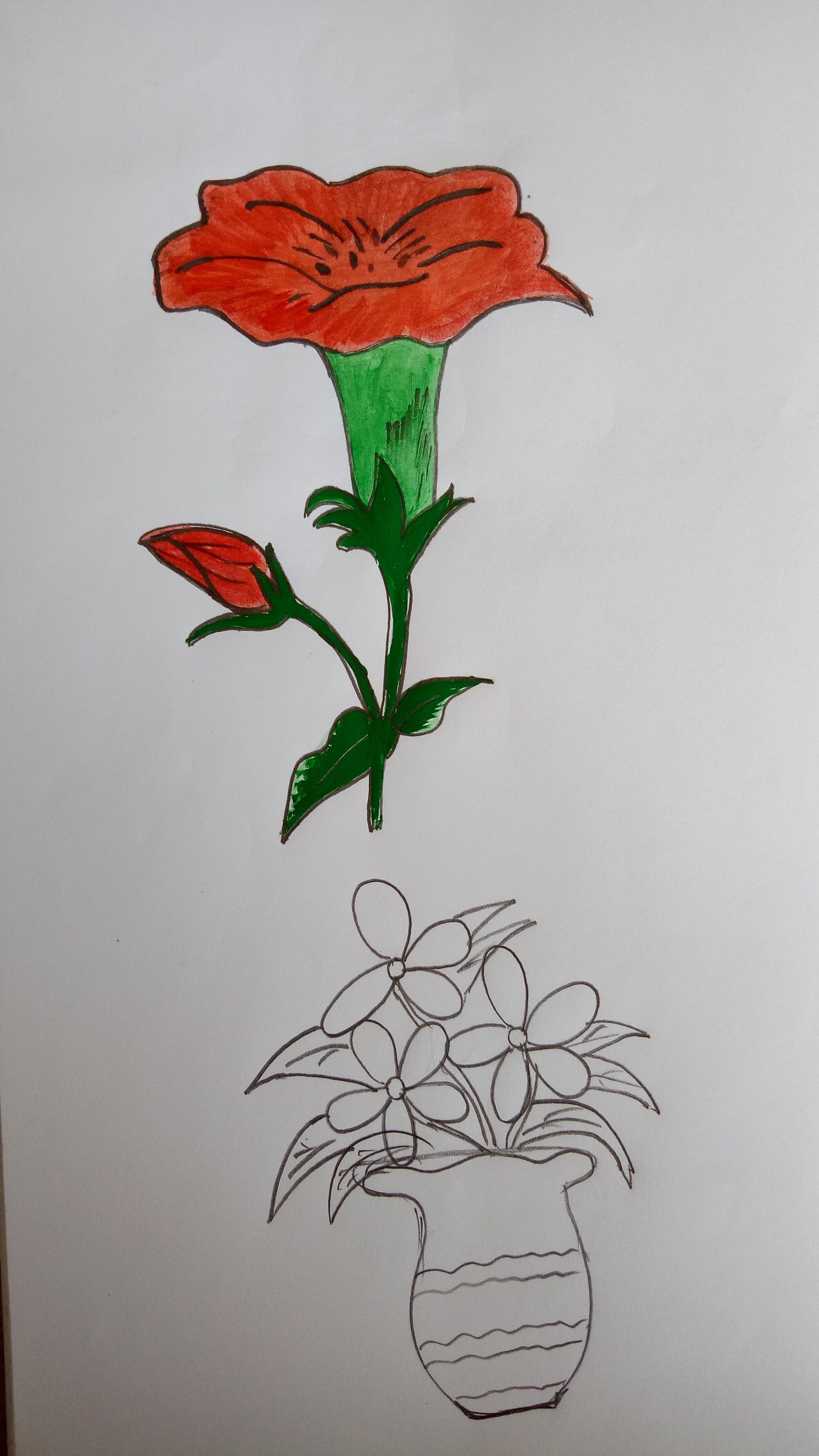 Gambar Sketsa Vas Bunga
