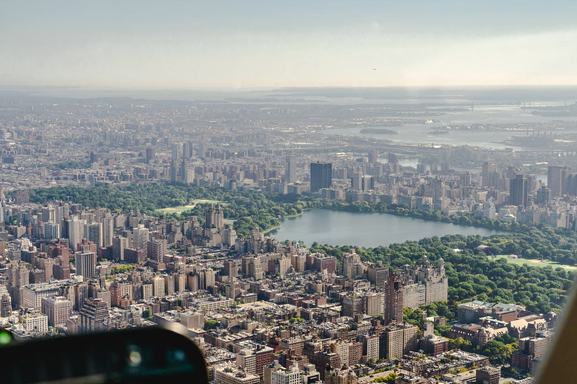 Central Park, letecké snímkovanie, mesto New York