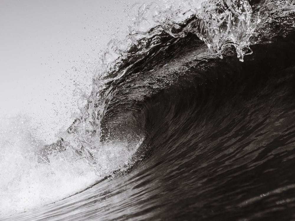 Monochrome Photo of Waves