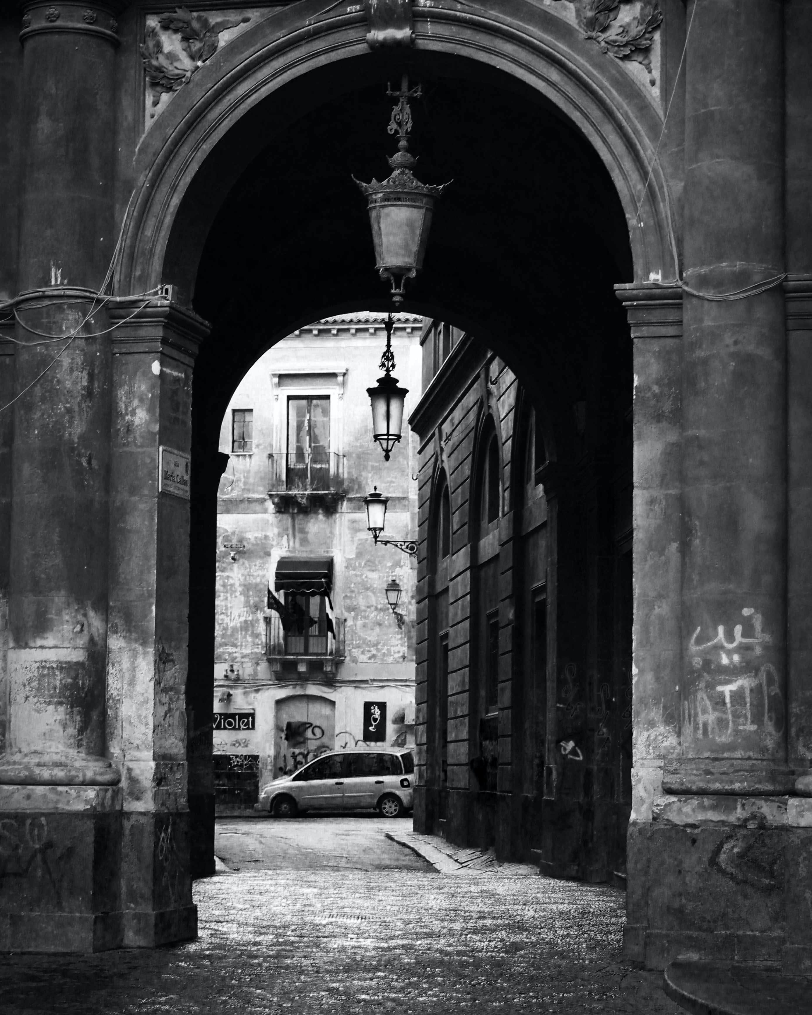 Free stock photo of black and white, city, gate, italy