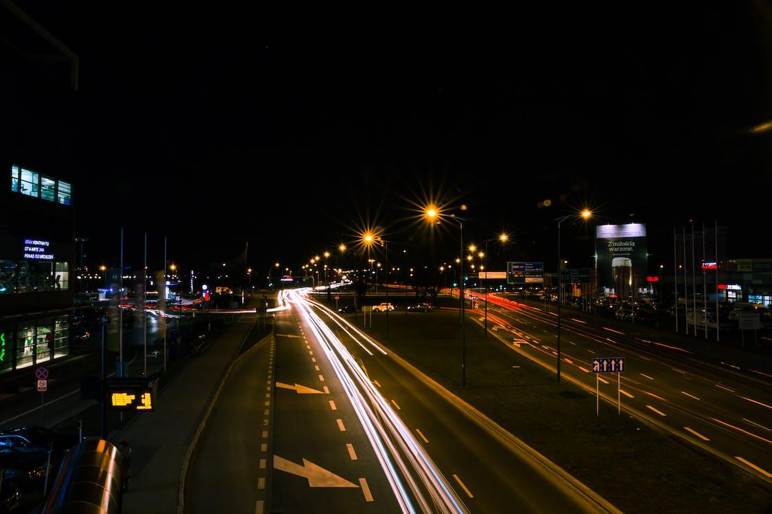 estrada, exposição, exposição longa