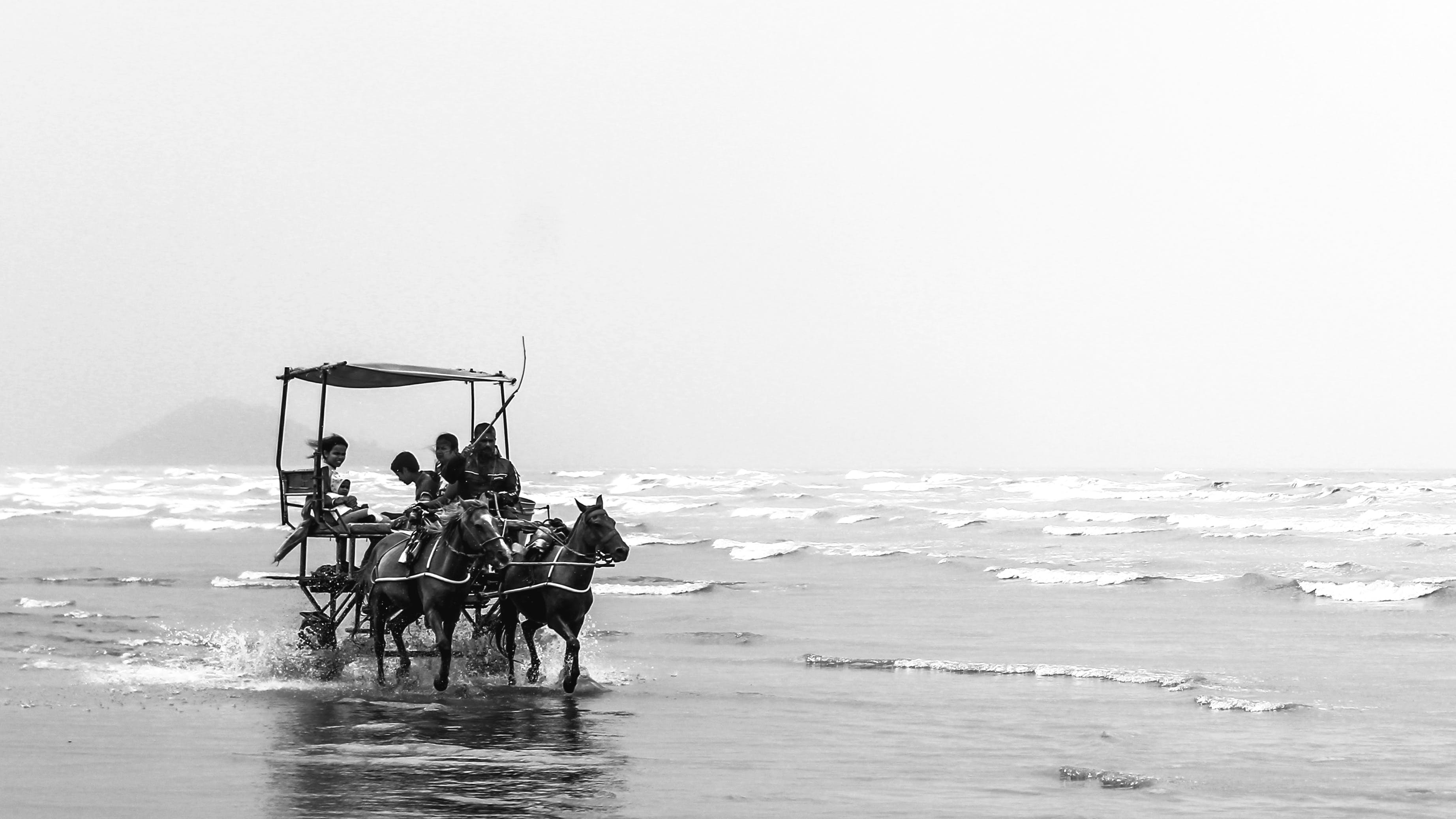Free stock photo of beach, black and white, cart, happy family