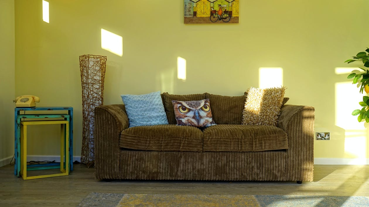 Brown Corduroy 2-seat Sofa Beside Leafed Plant
