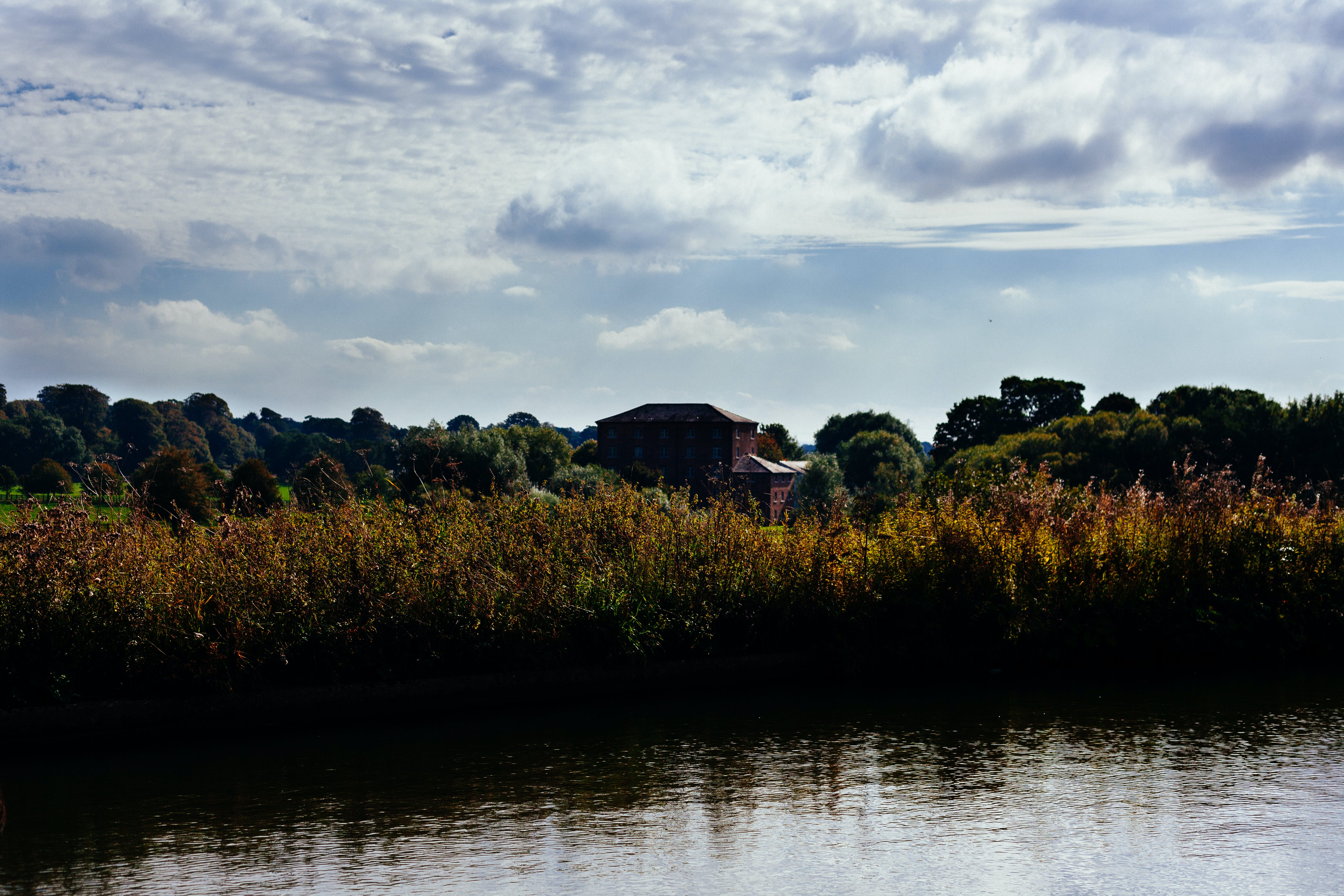 country, house, river