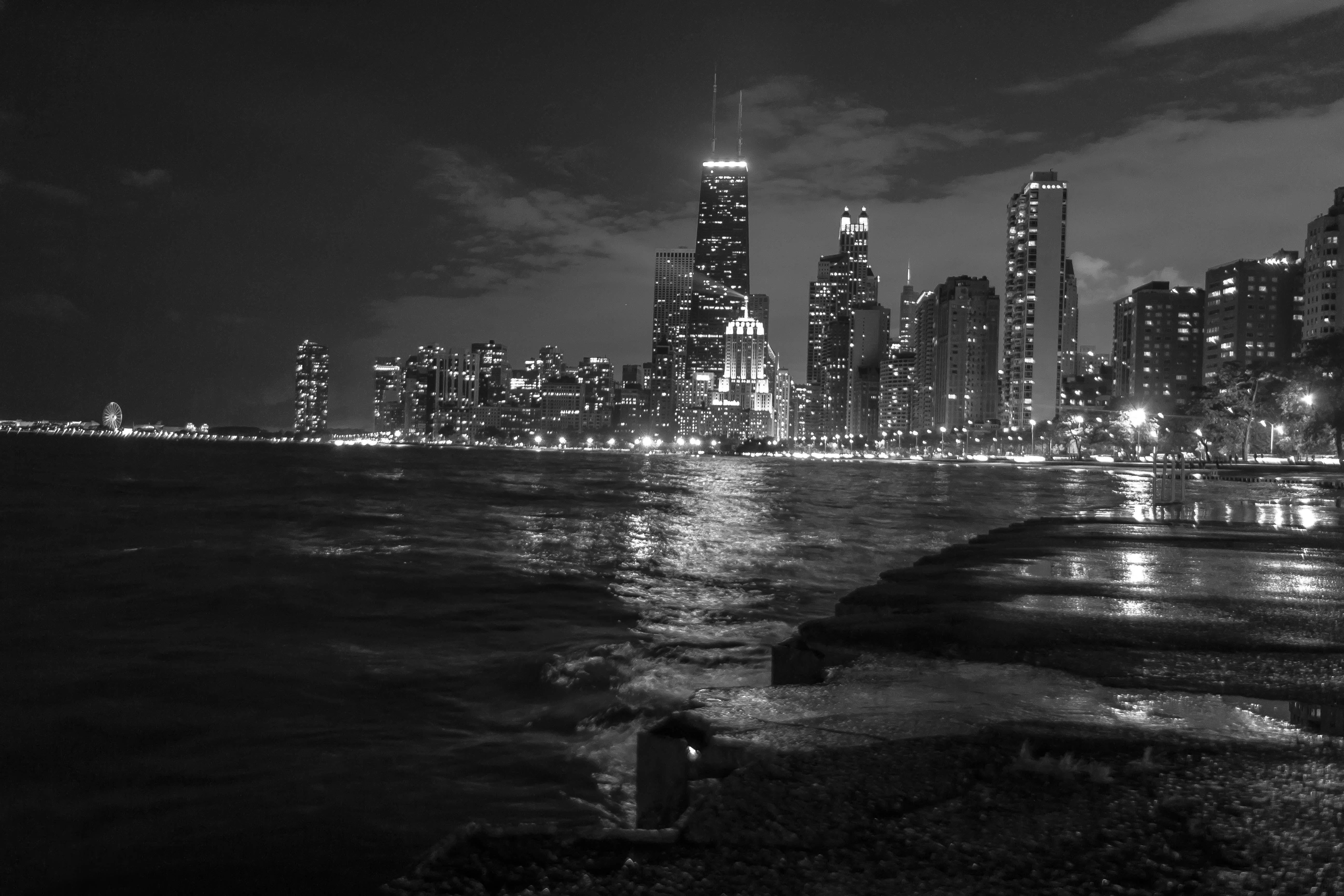 Free stock photo of black and white, nighttime, city lights, chicago