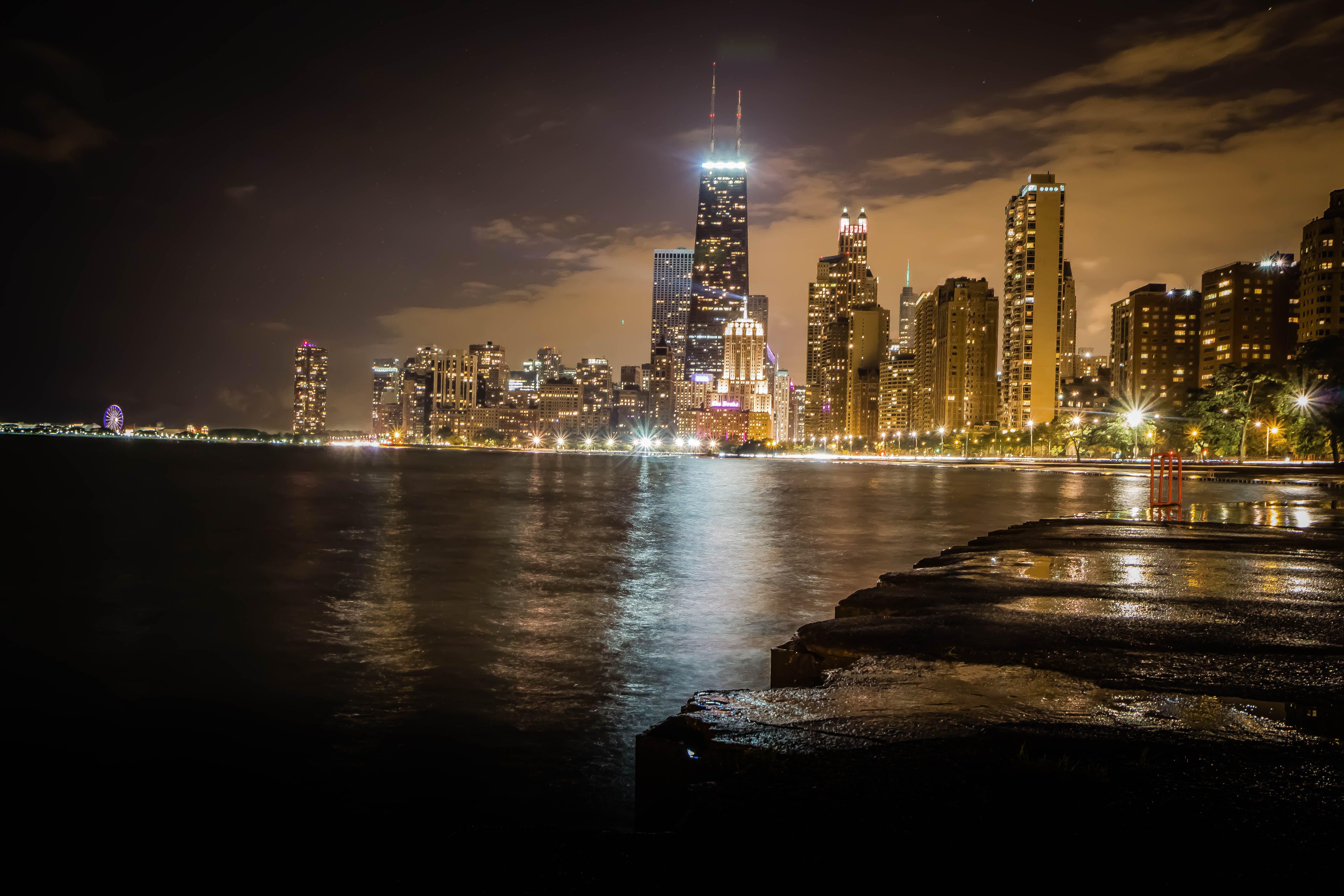 Free stock photo of chicago, city, city lights, lake michigan