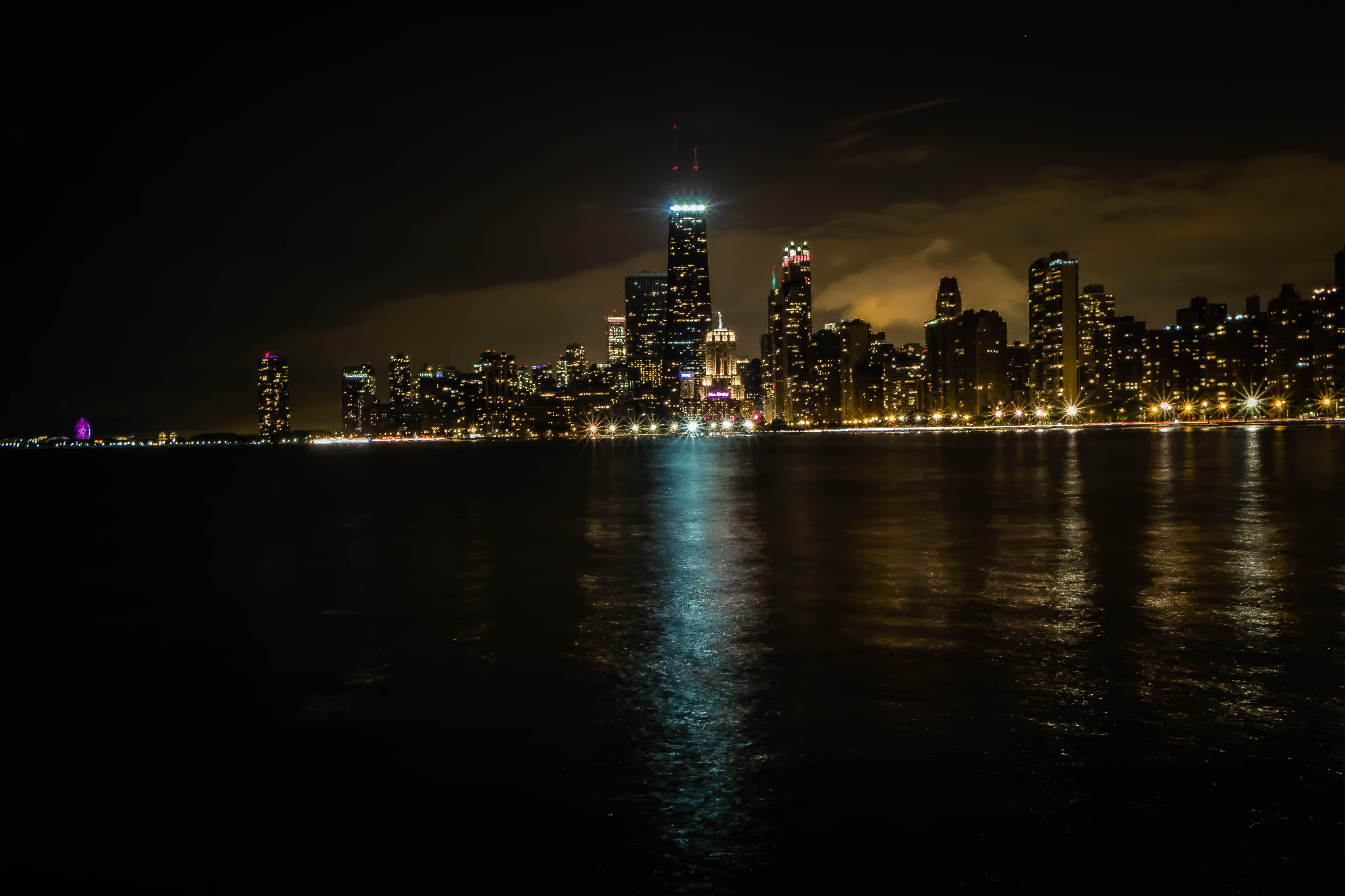 Free stock photo of city, city lights, chicago, lake michigan