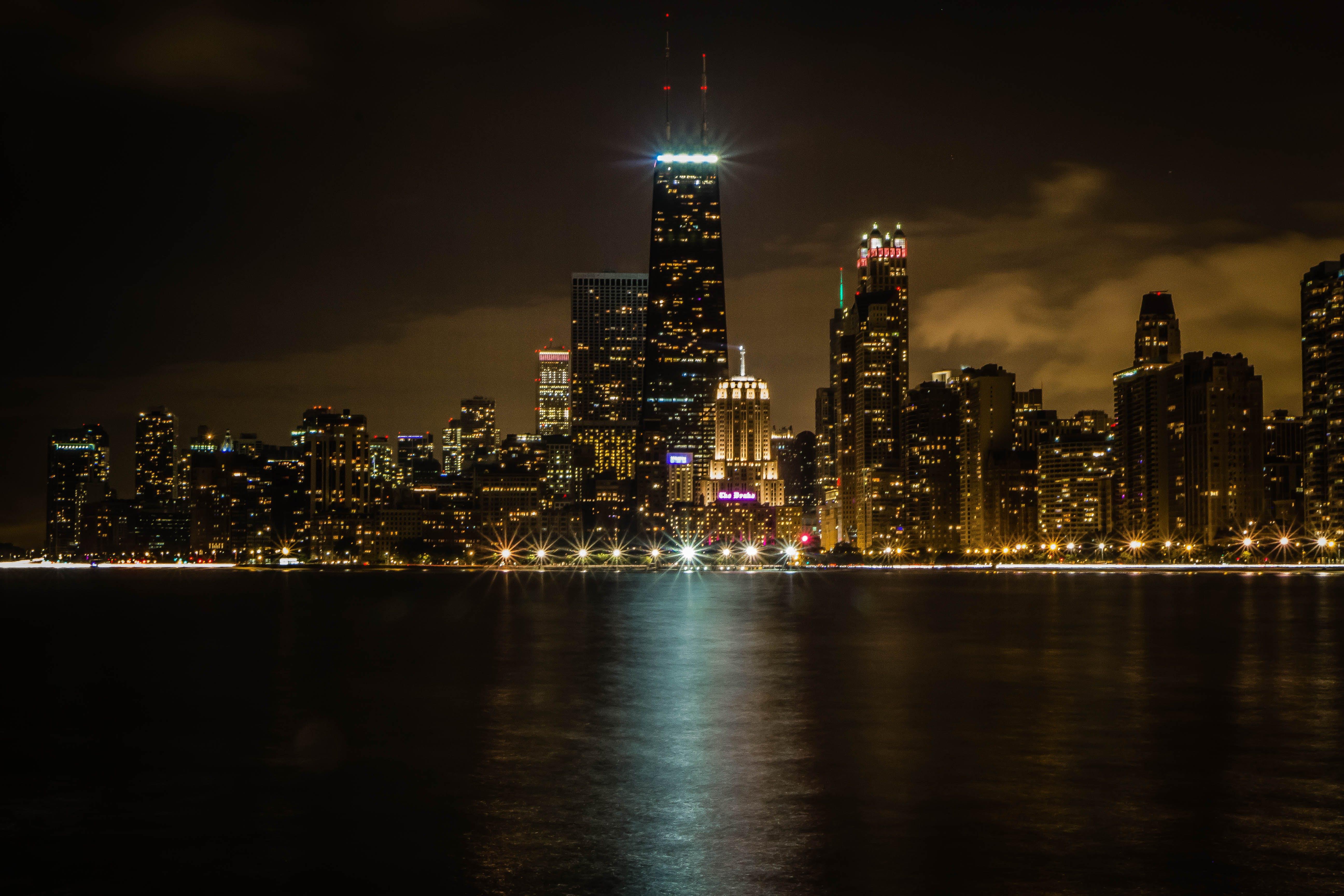 chicago, city, city lights