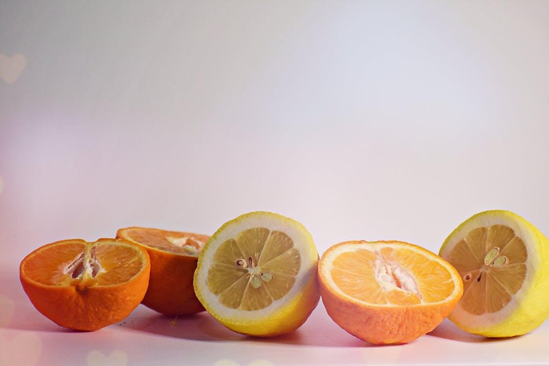 Five Sliced Yellow Lemons