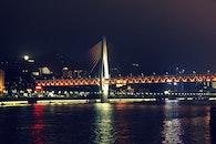 night, suspension bridge, Yangtze