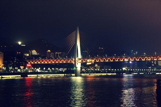 Free stock photo of night, suspension bridge, Yangtze