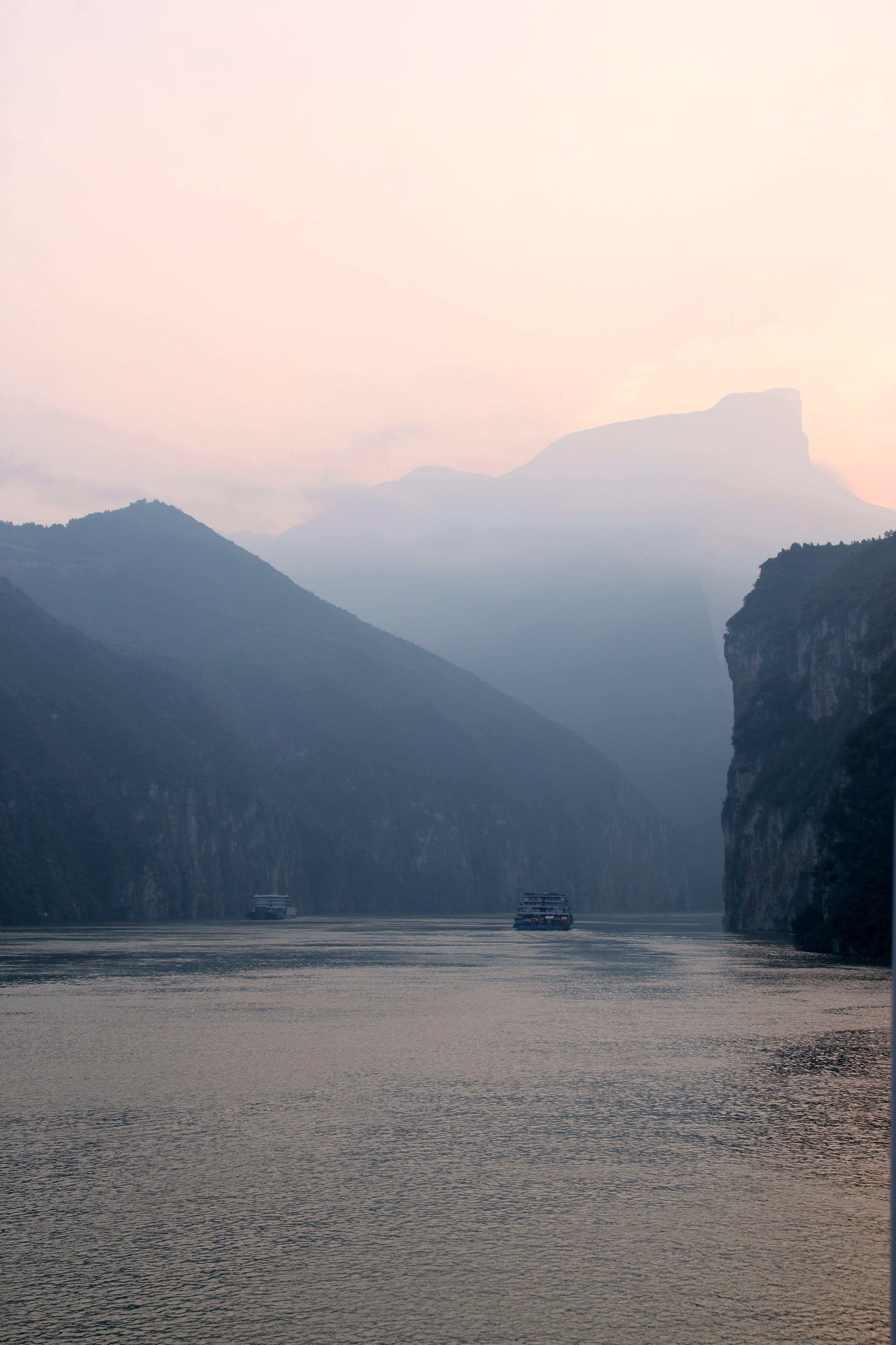 boat, cliff coast, landscape