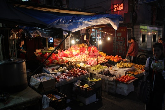 Free stock photo of night, fruits, market, traditional