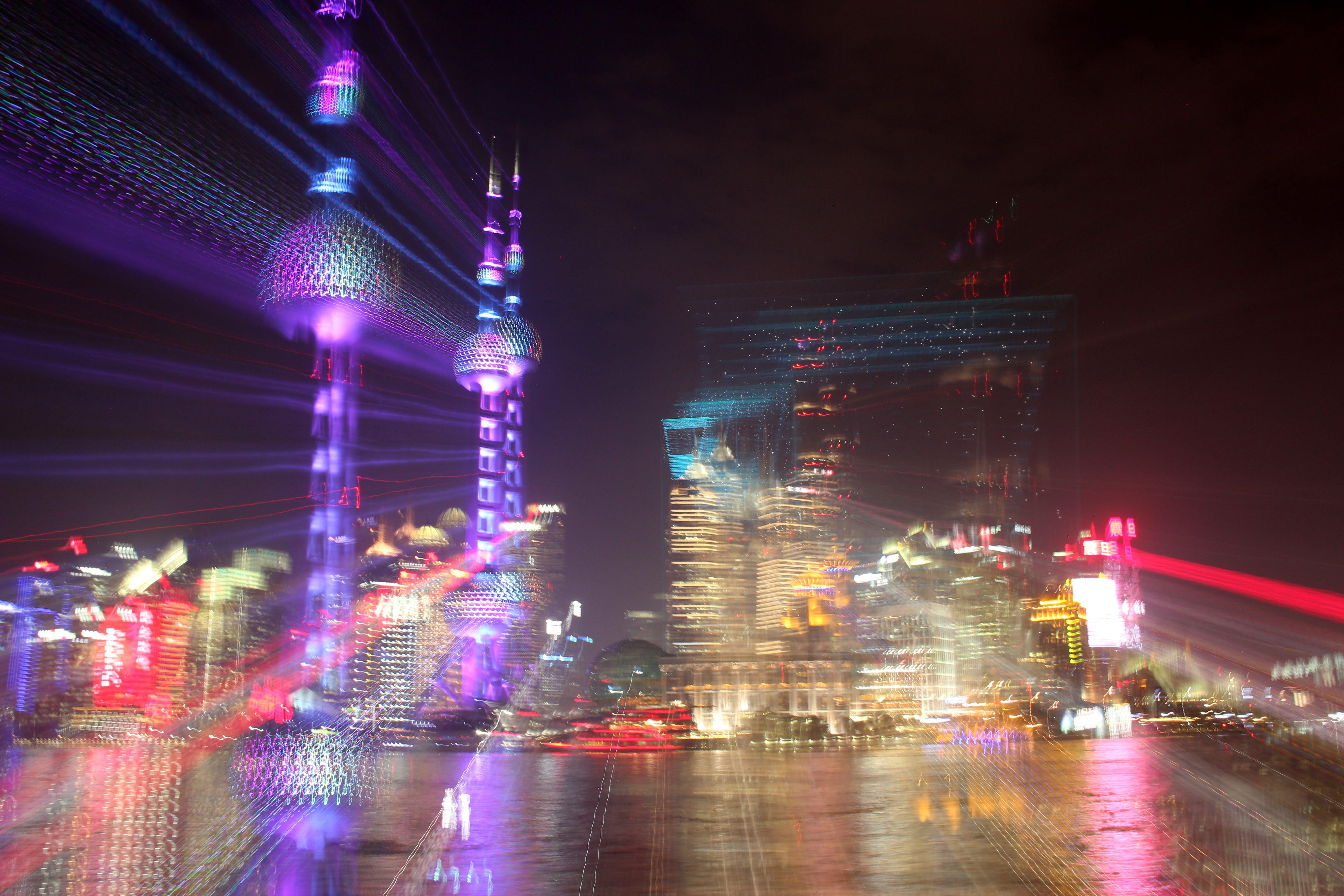 dvojí expozici, mrakodrapy, noc
