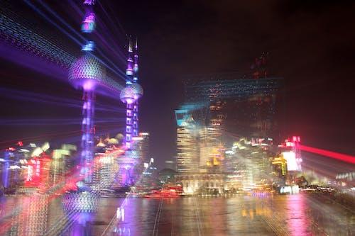 Ingyenes stockfotó éjszaka, felhőkarcolók, kettős expozíció, láthatár témában
