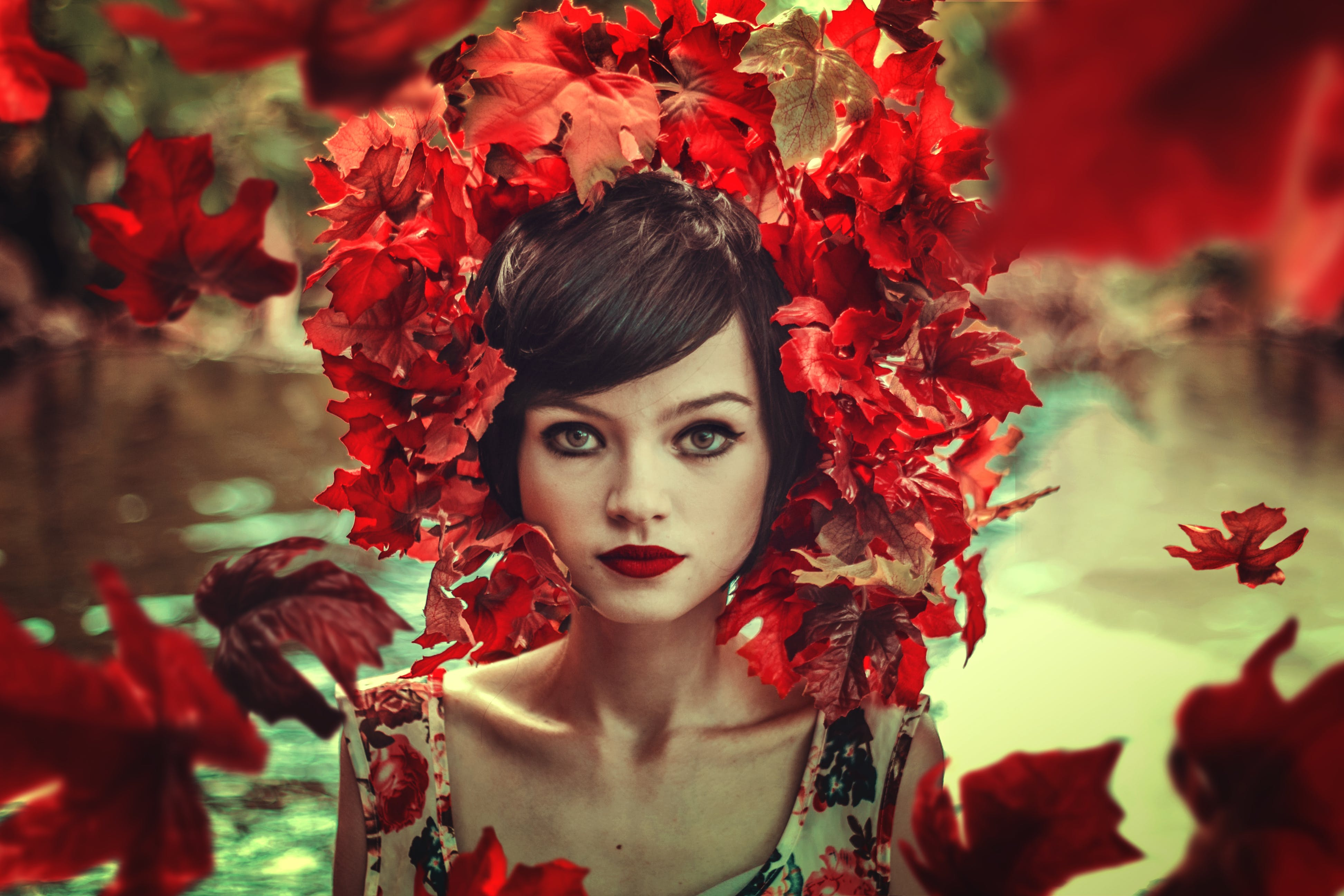 Woman With Red Flowers Headdress