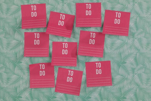 Pink Cards on Leafy Background