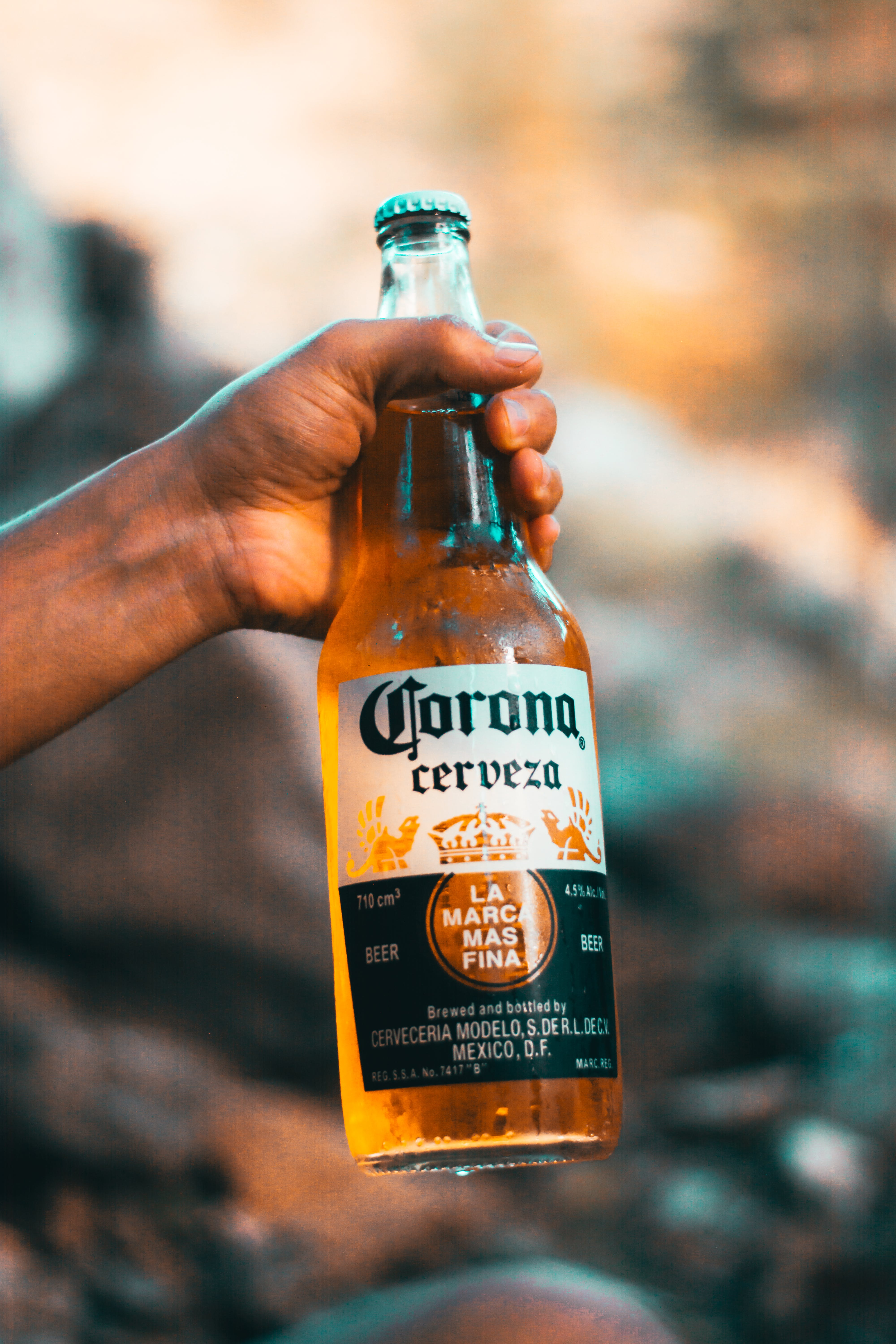 Person Holding Corona Cerveza Bottle