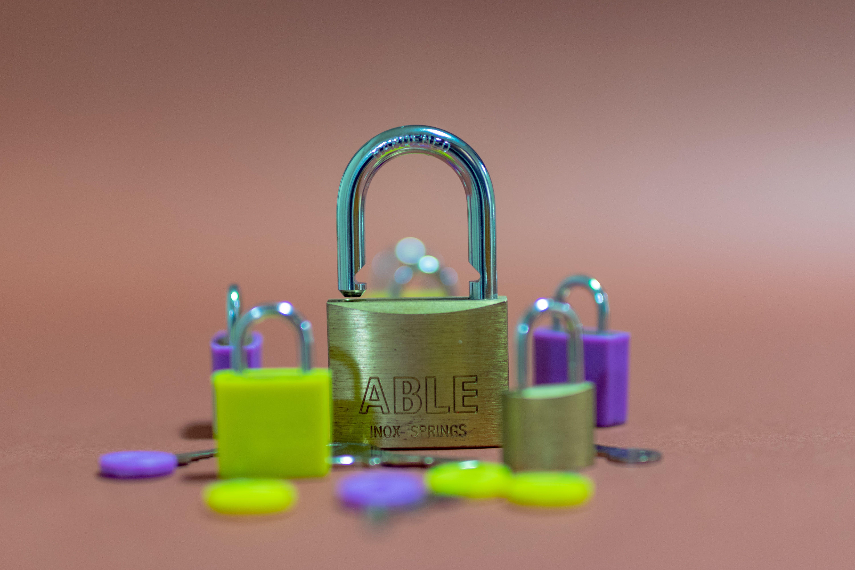 Free stock photo of coloured padlocks, keys, large padlock, locks