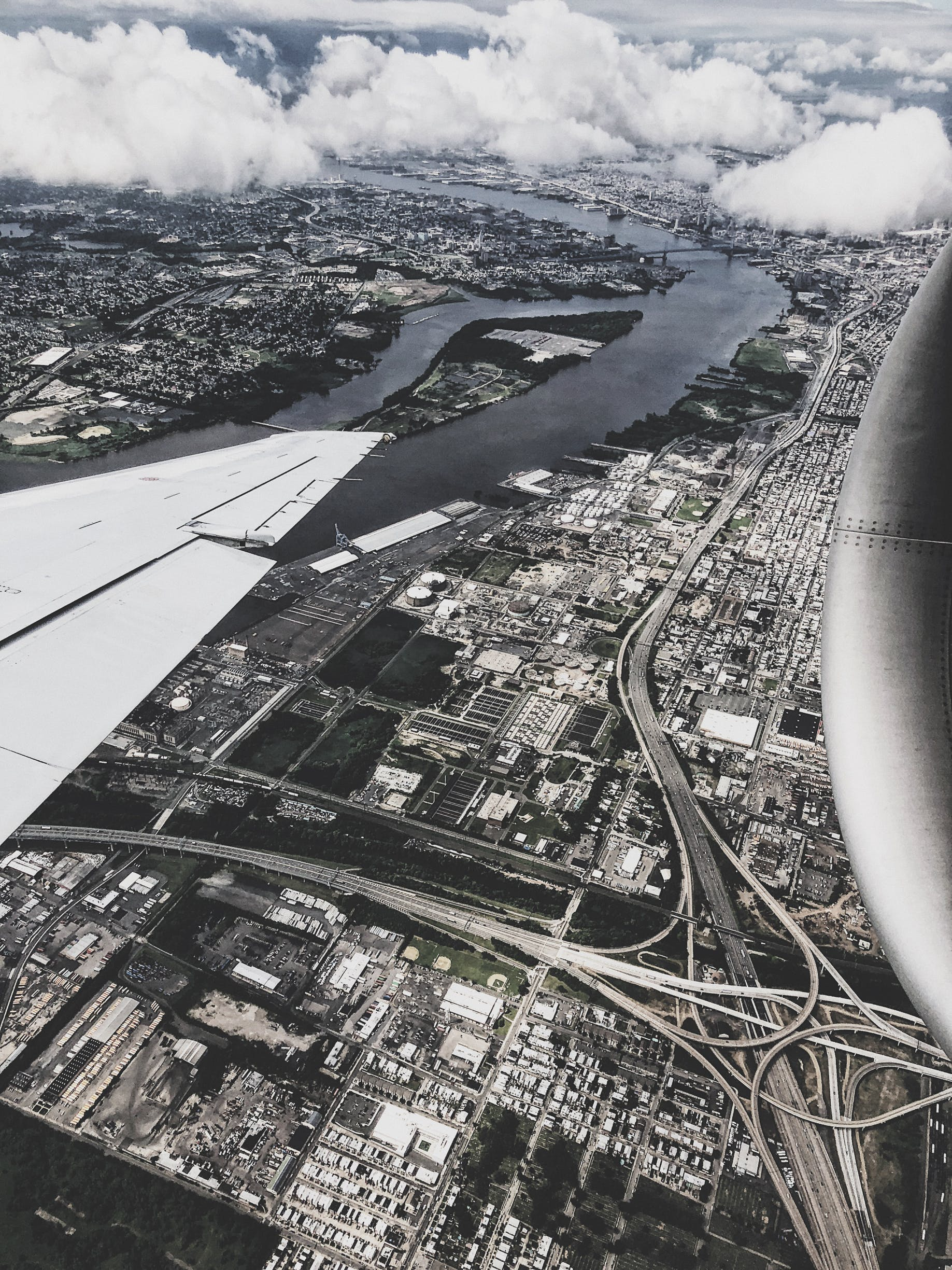 of aerial view, air travel, airplane, airplane wing
