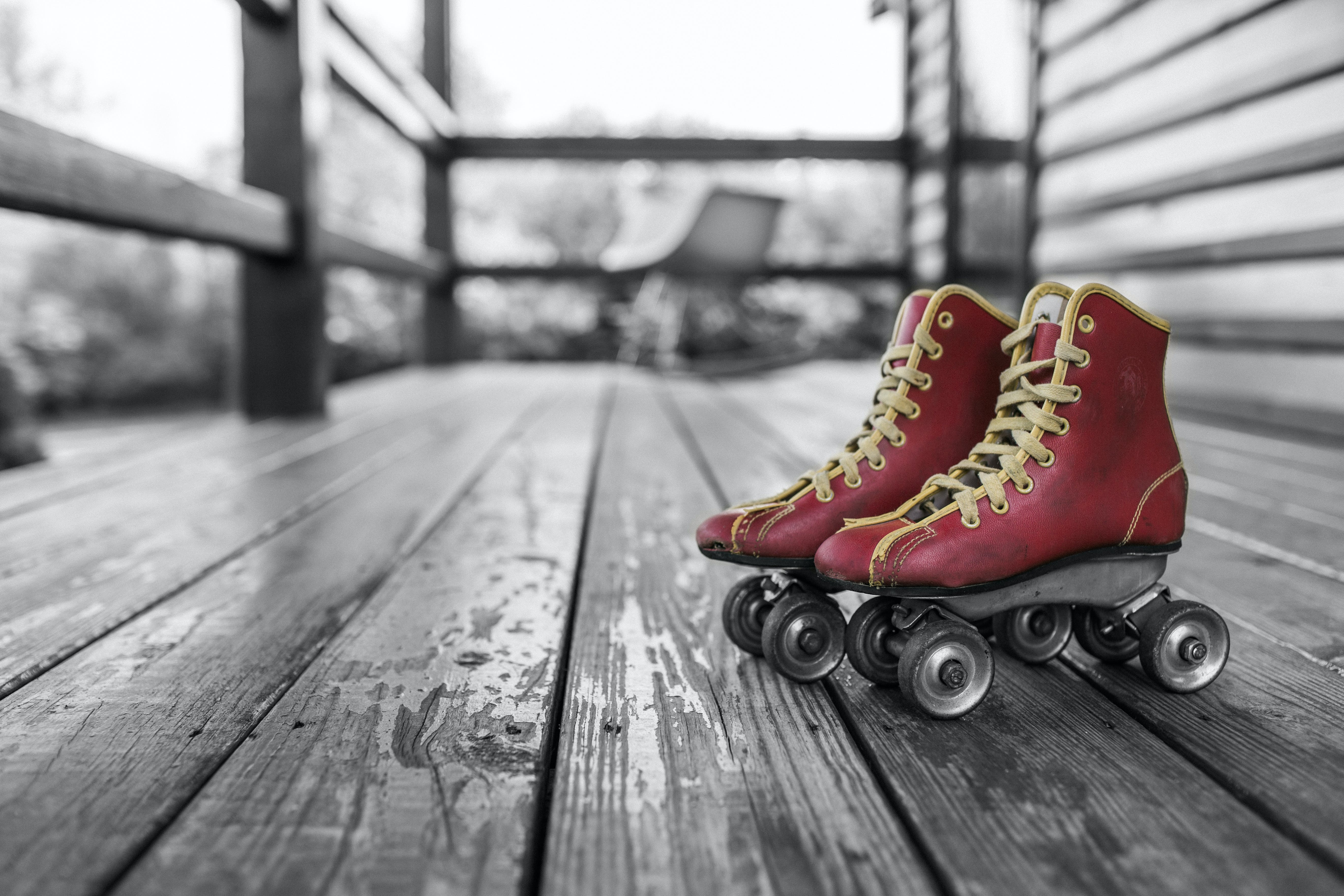 Selective Color Photography of Red Rolling Skates