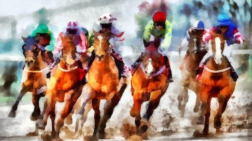 Free stock photo of art, artwork, jockeys, racing
