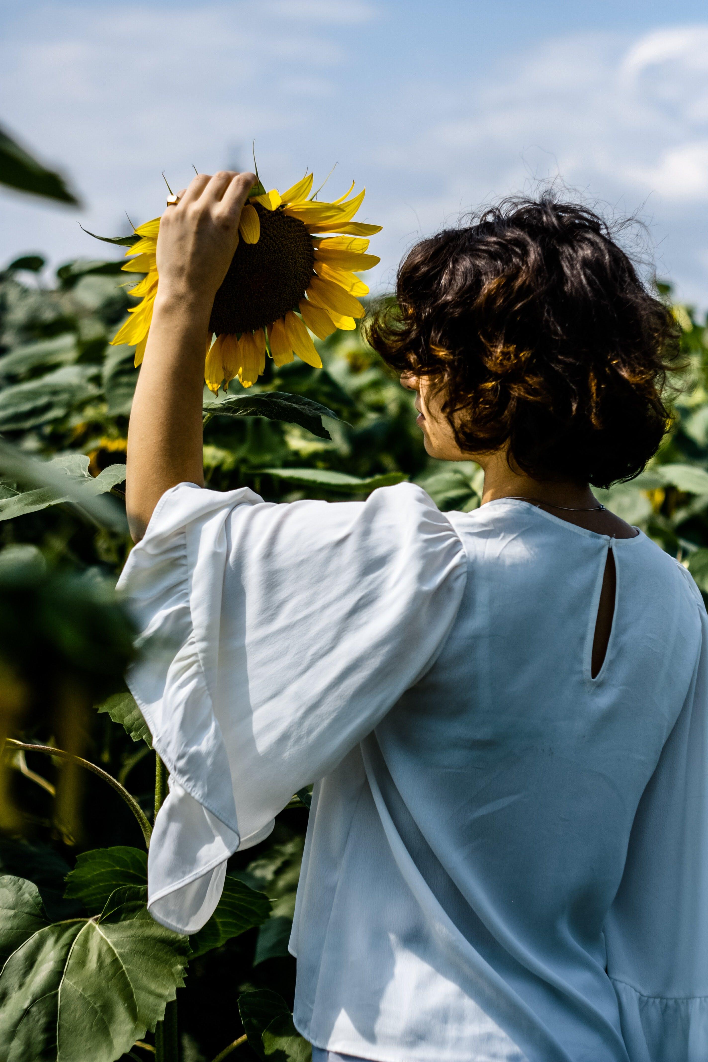 Woman Touching Sunflower